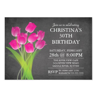 "Modern Chalkboard Typographic Tulip Birthday Party 5"" X 7"" Invitation Card"