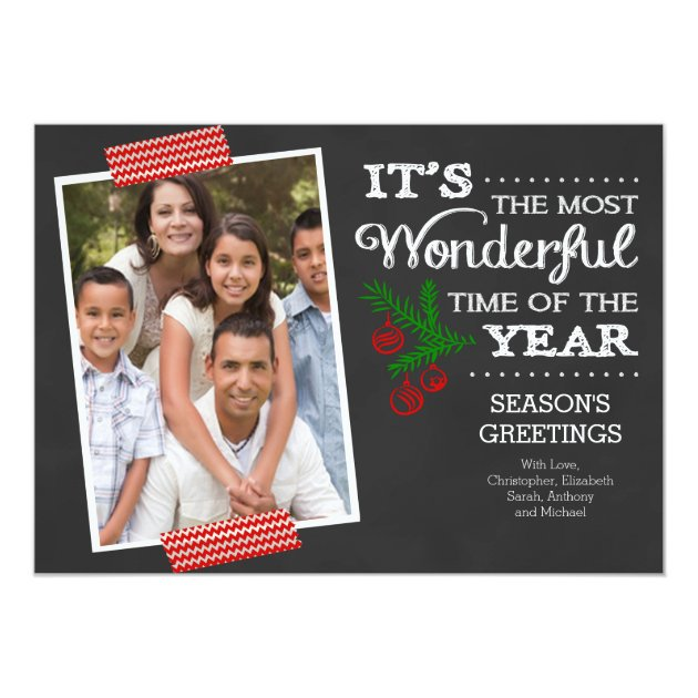 Modern Chalkboard Typography Holiday Photo Card