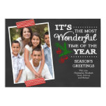 Modern Chalkboard Typography Holiday Photo Card Personalized Invite