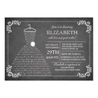 Modern Chalkboard Wedding Dress Bridal Shower Custom Invitations