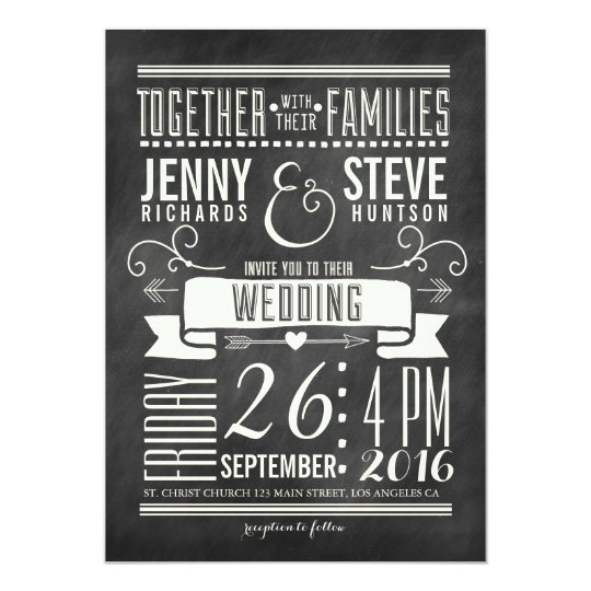 MODERN CHALKBOARD WEDDING INVITATION Zazzlecom