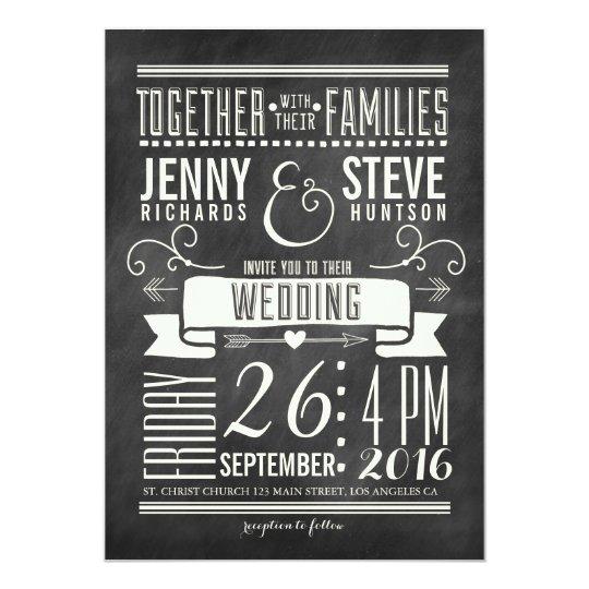 Modern Chalkboard Wedding Invitation