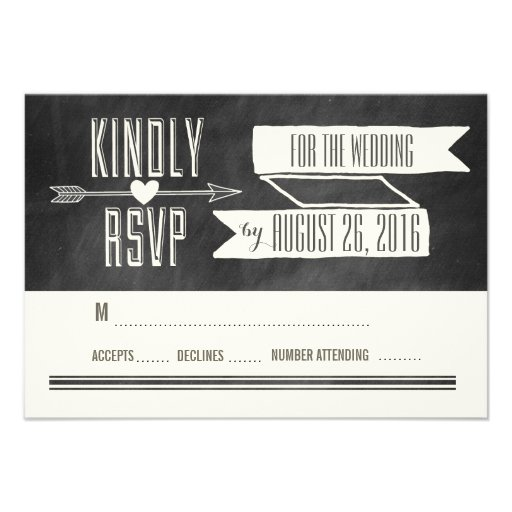 MODERN CHALKBOARD WEDDING RESPONSE CARD (front side)