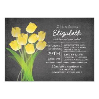 Modern Chalkboard Yellow Tulip Bridal Shower Card