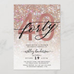 """Modern Champagne Glitter 40th Birthday Invitation<br><div class=""""desc"""">Invite family and friends to celebrate 40th Birthday with these chic trendy invitations. Design featuring champagne sparkly glitter texture,  fortyy in trendy handwritten script in black and rose gold color. Personalize with your details in block capital lettering.</div>"""