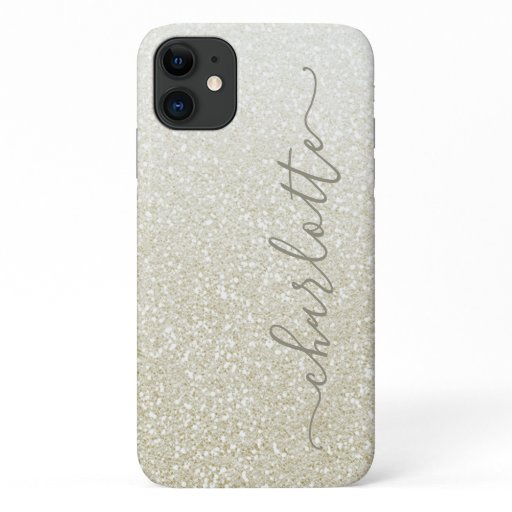 Modern Champagne Glitter Girly Chic Personalized iPhone 11 Case