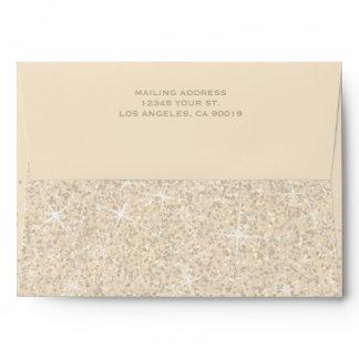 Modern Champagne Glitter Wedding Envelope
