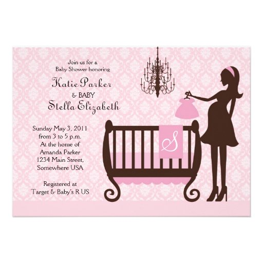 Modern Chandelier Shabby Chic Baby Shower Invite