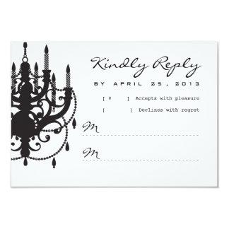 "Modern Chandelier Wedding Invitation RSVP 3.5"" X 5"" Invitation Card"