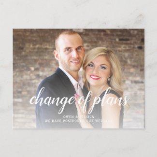 Modern Change Of Plans Postponed Wedding Announcement Postcard