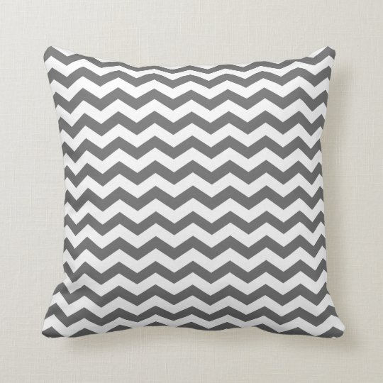 Modern Family Too Many Pillows : Modern Charcoal and White Chevron Throw Pillow Zazzle.com