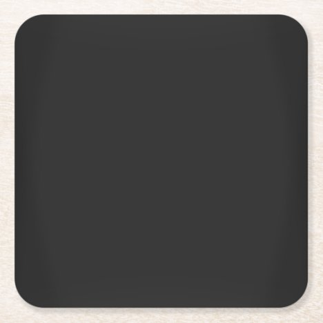 Modern Charcoal Black Customizable Square Paper Coaster