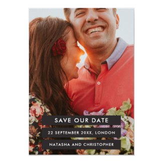 Modern Charcoal Blocks Photo Save the Date Card
