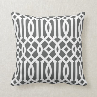 Modern Charcoal Gray and White Imperial Trellis Throw Pillow