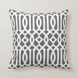 Modern Charcoal Gray and White Imperial Trellis Throw Pillows