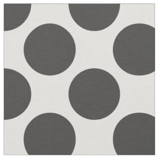 Modern Charcoal Gray and White Large Polka Dots Fabric