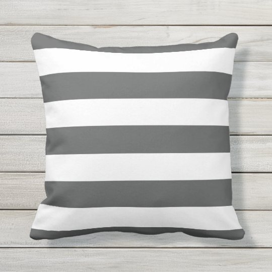 Modern Charcoal Gray And White Stripes Outdoor Pillow