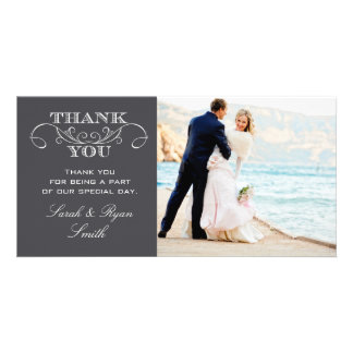Modern Charcoal Gray Wedding Photo Thank You Cards
