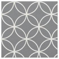 Modern Charcoal Gray White Circle Diamond Pattern Fabric