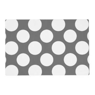 Modern Charcoal Gray White Polka Dots Pattern Placemat