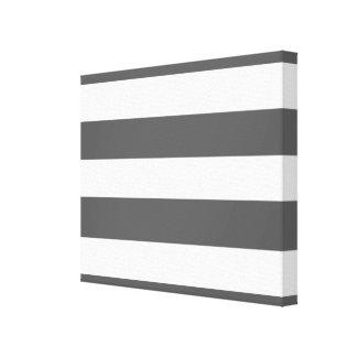 Modern Charcoal Gray White Stripes Pattern Gallery Wrap Canvas