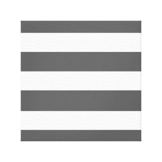 Modern Charcoal Gray White Stripes Pattern Stretched Canvas Print