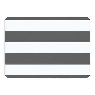 "Modern Charcoal Gray White Stripes Pattern 5"" X 7"" Invitation Card"