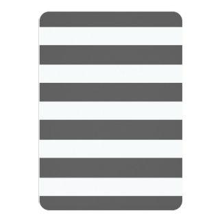 "Modern Charcoal Gray White Stripes Pattern 4.5"" X 6.25"" Invitation Card"