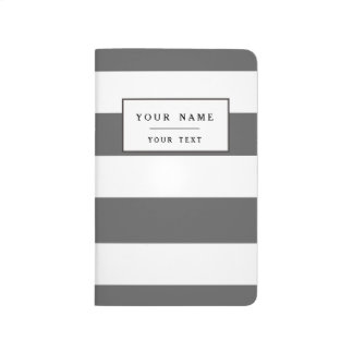 Modern Charcoal Gray White Stripes Pattern Journal