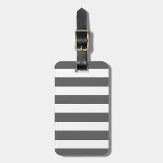Modern Charcoal Gray White Stripes Pattern Luggage Tag