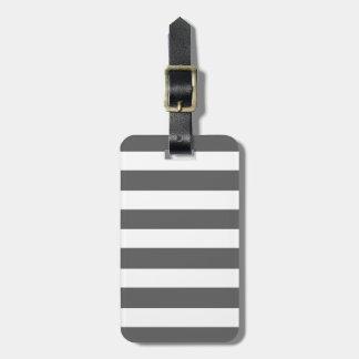Modern Charcoal Gray White Stripes Pattern Luggage Tags