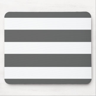 Modern Charcoal Gray White Stripes Pattern Mouse Pad