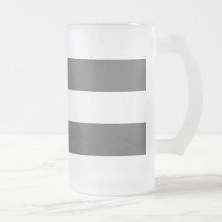 Modern Charcoal Gray White Stripes Pattern Beer Mug