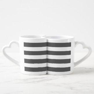 Modern Charcoal Gray White Stripes Pattern Lovers Mug
