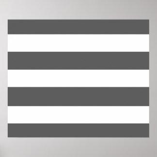 Modern Charcoal Gray White Stripes Pattern Print
