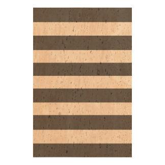 Modern Charcoal Gray White Stripes Pattern Cork Paper Print