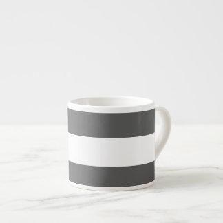 Modern Charcoal Gray White Stripes Pattern Espresso Cups