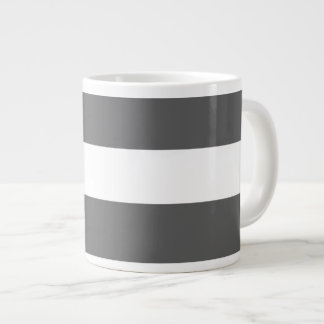 Modern Charcoal Gray White Stripes Pattern Jumbo Mugs