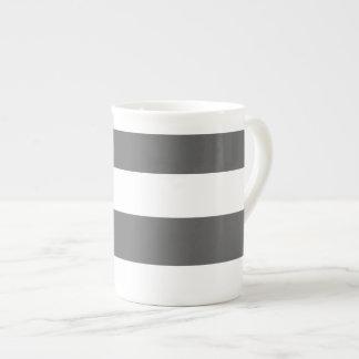 Modern Charcoal Gray White Stripes Pattern Bone China Mug