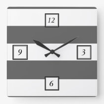 Modern Charcoal Gray White Stripes Pattern Square Wall Clock