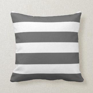 Modern Charcoal Gray White Stripes Pattern Throw Pillow