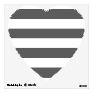 Modern Charcoal Gray White Stripes Pattern Room Decals
