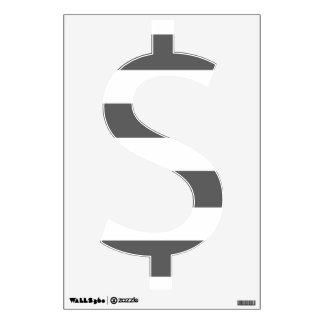 Modern Charcoal Gray White Stripes Pattern Wall Stickers