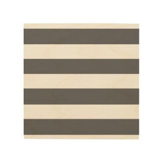 Modern Charcoal Gray White Stripes Pattern Wood Print