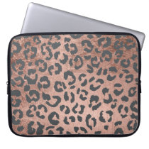 Modern charcoal grey rose gold leopard pattern computer sleeve