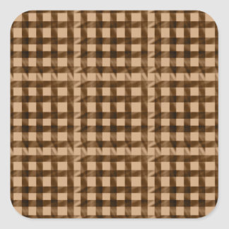 Modern Check Pattern - Brown Square Sticker