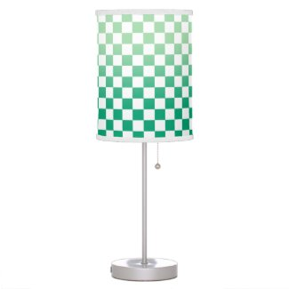 Modern Checkered Green Gradient and White Pattern Table Lamp