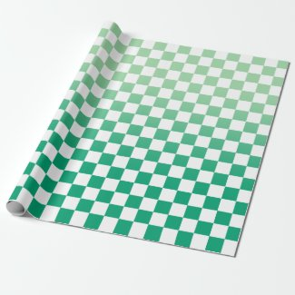 Modern Checkered Green Gradient and White Pattern Wrapping Paper