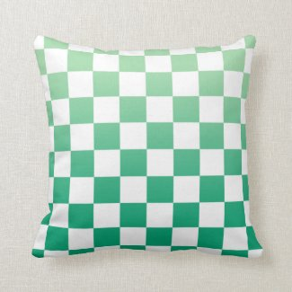 Modern Checkered Green Gradient White Pattern Throw Pillow