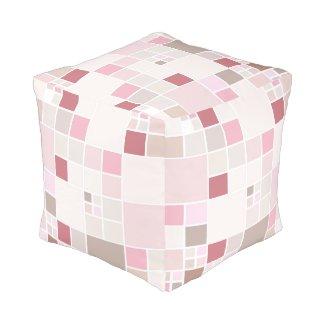 Modern Checkered Mosaic Pastel Pouf